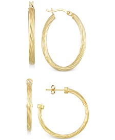 Set of Two Rope Hoop Earrings in 14k Gold Vermeil