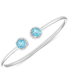 Blue Topaz Open Bangle Bracelet (3-1/5 ct. t.w.) in Sterling Silver