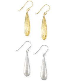 Set of Two Drop Earrings in 14k Gold Vermeil and White Gold Vermeil
