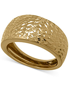 Italian Gold X-Cut Wide Band Ring in 14k Gold