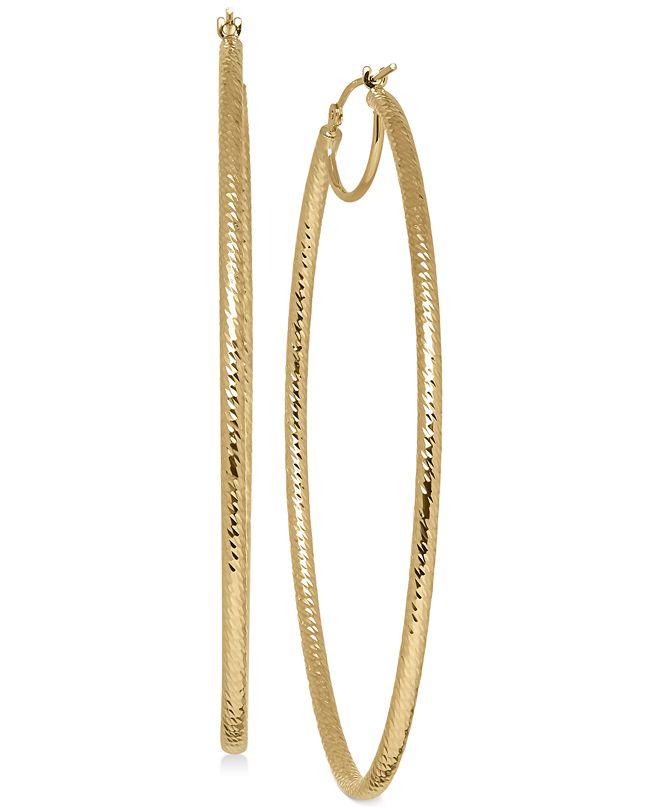 Italian Gold Oval Hoop Earrings in 14k Gold