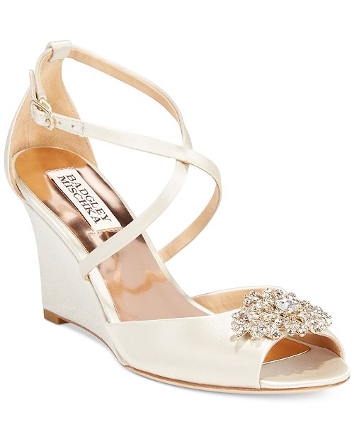Badgley Mischka Abigail Evening Wedge Sandals Women's Shoes KsVG5PbvJ