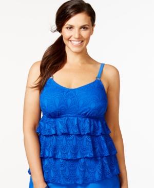 Island Escape Plus Size Tiered Crochet Tankini Top Women's Swimsuit plus size,  plus size fashion plus size appare