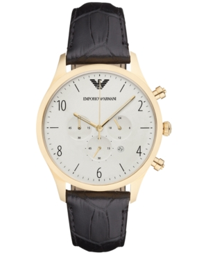 Emporio Armani Men's Chronograph Beta Black Leather Strap