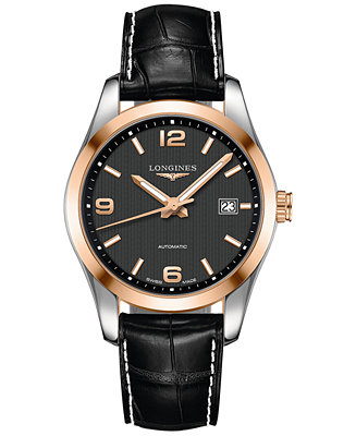Longines Men's Automatic Conquest Classic Black Leather