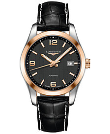 Longines Men's Automatic Conquest Classic Black Leather Strap Watch 40mm L27855563