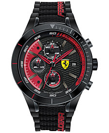 Ferrari Men's Chronograph RedRev Evo Black Silicone Strap Watch 46mm 830260