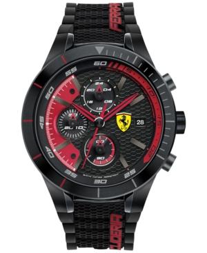 Scuderia Ferrari Men's Chronograph RedRev Evo Black Silicone Strap Watch 46mm 830260