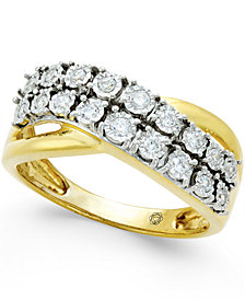 Diamond Two-Row Crossover Ring (1/4 ct. t.w.) in 10k White or Yellow Gold