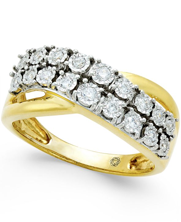 Macy's Diamond Two-Row Crossover Ring (1/4 ct. t.w.) in 10k White or Yellow Gold