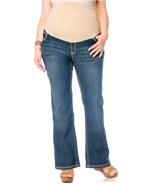 46b25368f3105 Wallflower Maternity Plus Size Bootcut Maternity Jeans, Dark Blue ...