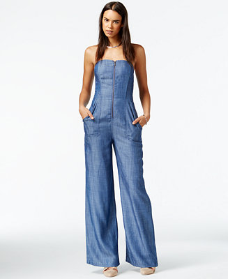 RACHEL Rachel Roy Wide Leg Denim Jumpsuit