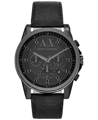 A/X Armani Exchange Men's Chronograph Black Leather Strap Watch 45mm AX2507