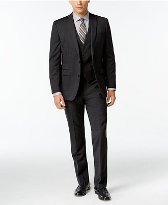 Bar III Dark Charcoal Slim-Fit Suit Separates - Suits & Suit