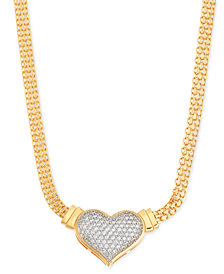 Diamond Heart Pendant Necklace (1/2 ct. t.w.) in 14k Gold over Sterling Silver