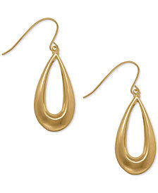 Teardrop Wire Drop Earrings in 10k Gold, 1 1/8 inch