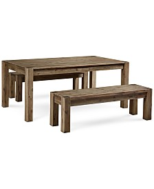 "Canyon 3 Piece Dining Set, Created for Macy's,  (72"" Table and 2 Benches)"