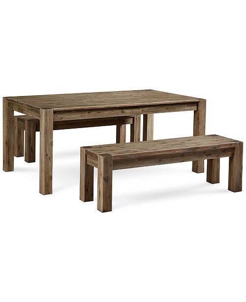 "Furniture Canyon 3 Piece Dining Set, Created for Macy's,  (72"" Table and 2 Benches)"