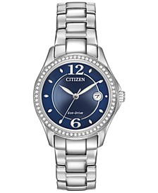 Women's Eco-Drive Swarovski Crystal-Accented Stainless Steel Bracelet Watch 29mm FE1140-86L