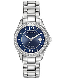 Citizen Women's Eco-Drive Swarovski Crystal-Accented Stainless Steel Bracelet Watch 29mm FE1140-86L