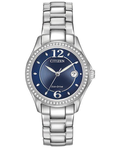 Women's Eco-Drive Swarovski Crystal-Accented Stainless Steel Bracelet Watch 29mm FE1140-86L
