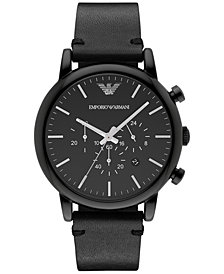 Emporio Armani Men's Chronograph Black Leather Strap Watch 46mm AR1918