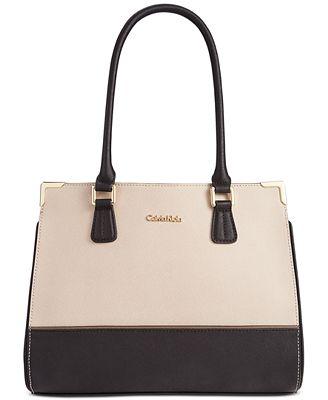 Calvin Klein On My Corner Saffiano Leather Satchel