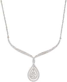 Diamond Teardrop Pendant Necklace (1 ct. t.w.) in 14k White Gold