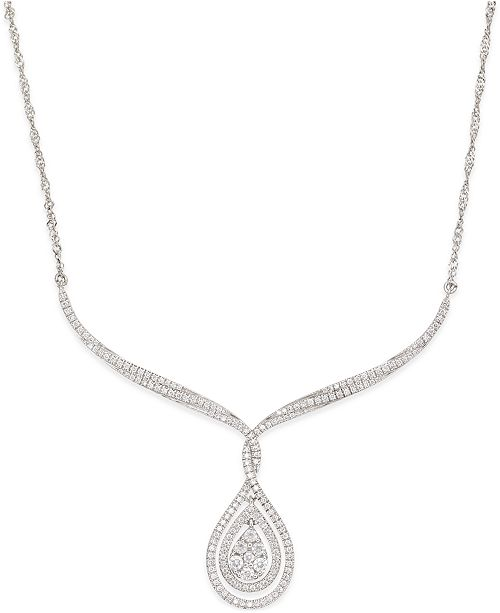 Macy's Diamond Teardrop Pendant Necklace (1 ct. t.w.) in 14k White Gold