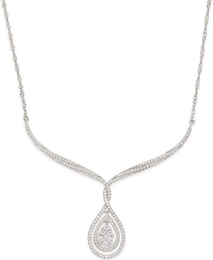 Macy's - Diamond Teardrop Pendant Necklace (1 ct. t.w.) in 10k White Gold