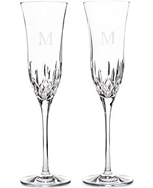 Lismore Essence Block Letter Monogram Toasting Flutes, Set Of 2