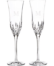 Waterford Lismore Essence Block Letter Monogram Toasting Flutes, Set Of 2
