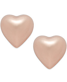 Dimensional Heart Stud Earrings in 10k Rose Gold