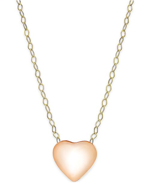 Macy's Heart Pendant Necklace in 10k Rose Gold