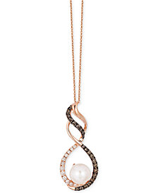 Le Vian Chocolatier® Fresh Water Pearl (8mm) and Diamond (5/8 ct. t.w.) Pendant Necklace in 14k Rose Gold