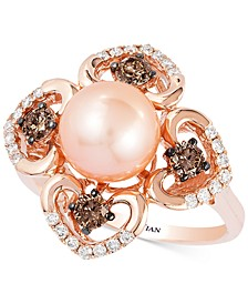 Chocolatier® Pink Freshwater Pearl (8mm) and Diamond (5/8 ct. t.w.) Flower Ring in 14k Rose Gold