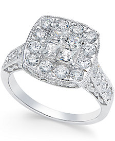 Diamond Square Cluster Ring (1-1/2 ct. t.w.) in 14k White Gold