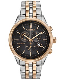 Men's Chronograph Eco-Drive Two-Tone Stainless Steel Bracelet Watch 42mm AT2146-59E