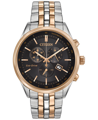 Citizen Men's Chronograph Eco-Drive Two-Tone Stainless Steel Bracelet Watch 42mm AT2146-59E