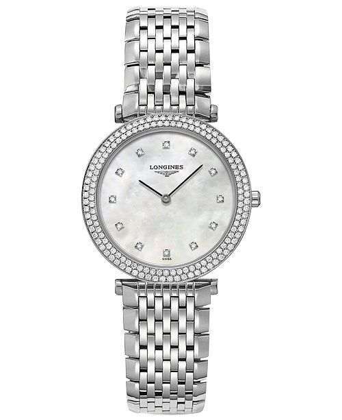 Longines Women's Swiss La Grande Classique de Longines Diamond Accents Stainless Steel Bracelet Watch 31mm L45150876