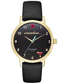 kate spade new york Women's Metro Black Leather Strap Watch 34mm KSW1039