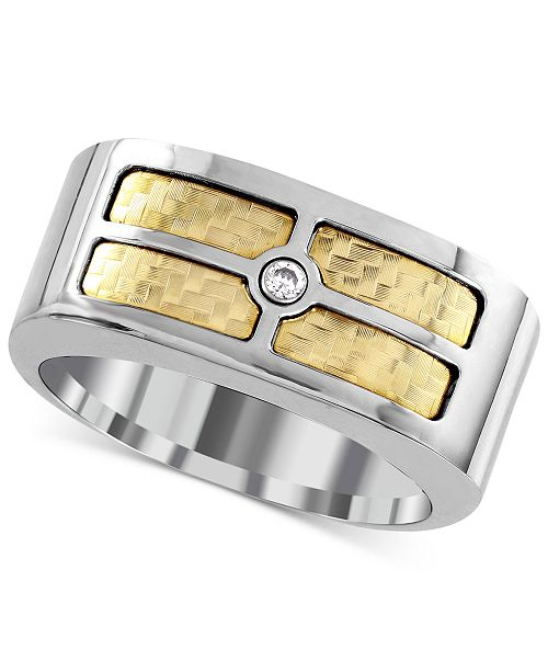 Macy's Men's Diamond Accent Inlay Ring in 18k Gold and Stainless Steel