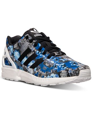 adidas Men's ZX Flux Floral Print Running Sneakers from Finish Line