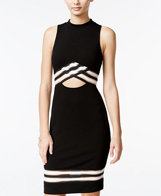 Material Girl Juniors' Illusion Two-Tone Bodycon Dress, Only at Macy's