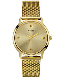 GUESS Men's Diamond Accent Gold-Tone Stainless Steel Mesh Bracelet Watch 40mm U0280G3