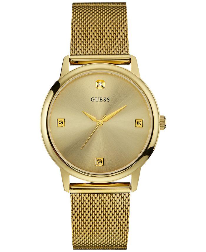 GUESS - Men's Diamond Accent Gold-Tone Stainless Steel Mesh Bracelet Watch 40mm U0280G3
