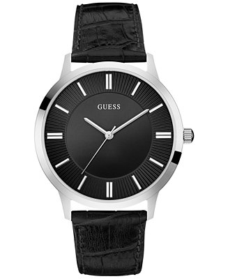 GUESS Men's Black Leather Strap Watch 43mm