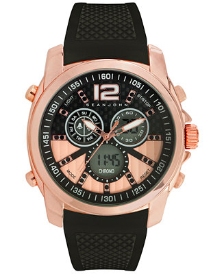 Sean John Men's Analog-Digital Chronograph Black Silicone