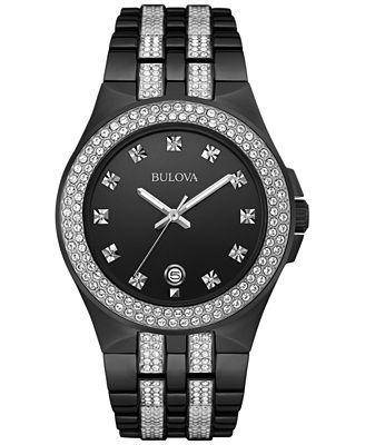 Bulova Men's Crystal Accent Black-Tone Stainless Steel Bracelet Watch 42mm 98B251
