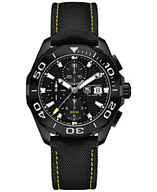 TAG Heuer Men's Swiss Automatic Chronograph Aquaracer Calibre 16 Black Nylon Strap Watch 43mm CAY218A.FC6361